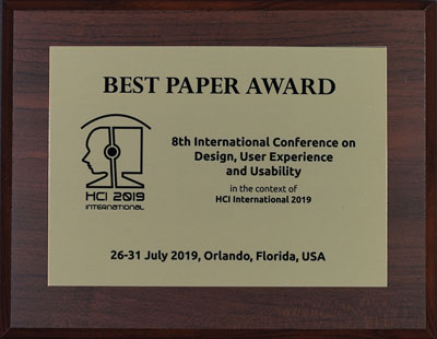 Design User Experience And Usability Best Paper Award Hci International 2019