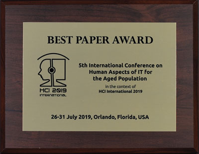 Human Aspects of IT for the Aged Population Best Paper Award. Details in text following the image.