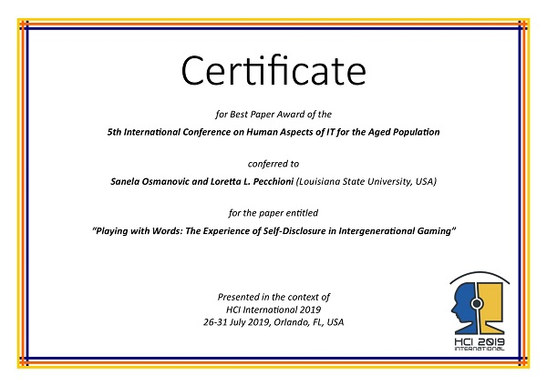 Certificate for best paper award of the 5th International Conference on Human Aspects of IT for the Aged Population. Details in text following the image