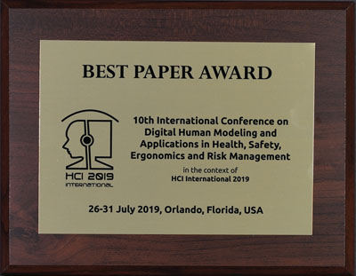 Digital Human Modeling & Applications in Health, Safety, Ergonomics & Risk Management Best Paper Award. Details in text following the image.