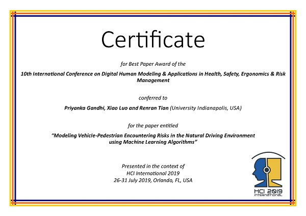 Certificate for best paper award of the 10th International Conference on Digital Human Modeling & Applications in Health, Safety, Ergonomics & Risk Management. Details in text following the image